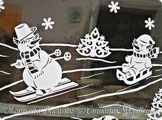 Давно хотелось сделать семейство Снеговичков на зимних окошечках:)  Наконец нашла подходящих героев и вырезала вытынанки. И вот, что в итоге получилось))) фото 6