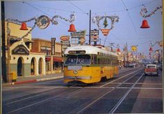 A Los Angeles Transit Lines Yellow Car streetcar at Ditman Avenue in Boyle Heights (December 1957)