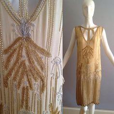 1920s Spectacular! Beaded Flapper Dress of Sheer Silk. Wowzer!