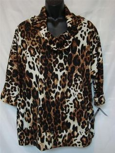 AGB Woman Plus Size 1X Cowlneck Animal Print Top w/ Banded Bottom - NWT Ret $60 - Buy It Now for $18.99 plus shipping