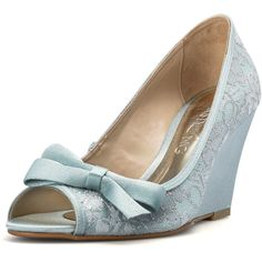 Something Blue Estoril Wedding Wedges Something Blue Lace Bridal Peep... ($90) ❤…