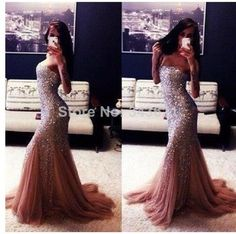 Sparkling Sequins Crystals Maroon Long Mermaid Party Prom Dress Custom Made Hot Sale