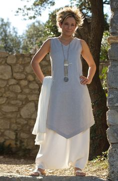 Ice blue linen Tunic with a off white linen harem pants Necklace: bamboo, calligraphy paper, chinsese coin