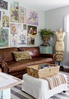 Joanna Madden   Floral Paintings   Living Room   Rikki Snyder Photography   Style Me Pretty Living   Home Tour   Vintage