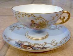 Antique Baby Blue&Gold Cup&Saucer - France - AMAZING CONDITION! Family Portrait