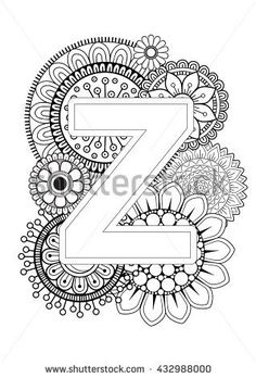 Doodle Floral Letters. Coloring Book For Adult. Mandala and Sunflower. ABC. Isolated Vector Elements. Capital Letter English Alphabet - stock vector