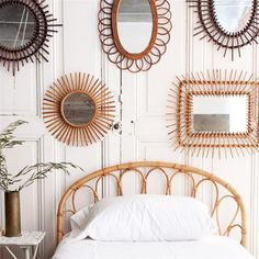 vintage rattan mirrors from @elsiegreenhh