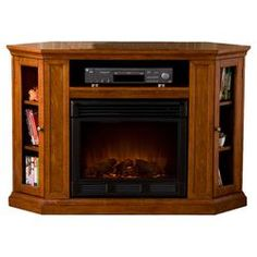 "Chester 48"" TV Stand & Electric Fireplace in Brown Mahogany"