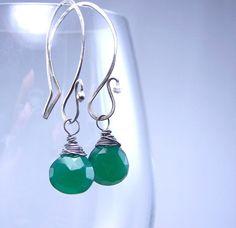 Green Garnet Heart Briolette Oxidized Sterling Silver Earrings by TNineDesign
