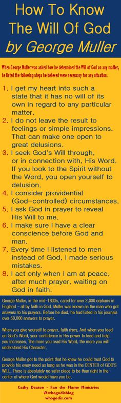 When George Muller was asked how he determined the will of God on any matter, he listed the following steps he believed were necessary. http://who-god-is.com/infographic-how-to-know-the-will-of-god