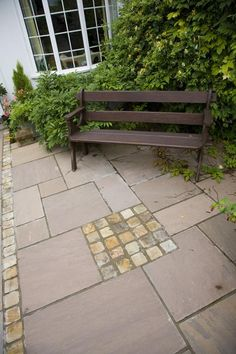 Sandstone Setts can be used in conjunction with full sized paving slabs (either matching or in a contrasting colour) to add an interesting and unique touch to a country cottage garden. Sandstone Paving, Paving Slabs, Garden Paving, Courtyard Gardens, Garden Landscaping, Paving Ideas, Tall Plants, Garden Pests, Types Of Plants