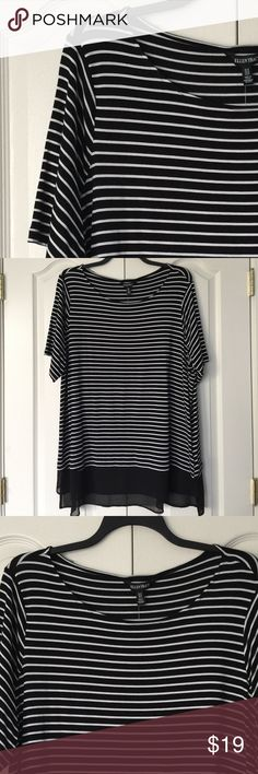 Black and white striped top Black and white striped top with half sleeves. Ellen Tracy Tops