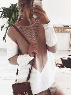 Chicnico Boho Spliced O-Neck Long Sleeve Sweater