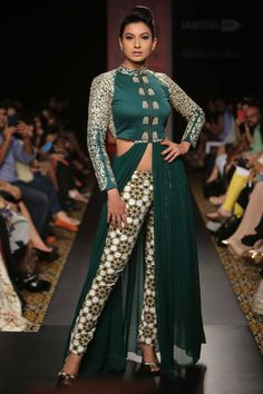 Emerald green cut out floor length dress with printed pants available only at Pernia's Pop-Up Shop.