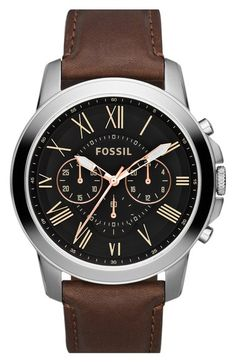 Fossil 'Grant' Round Chronograph Leather Strap Watch, 44mm available at…