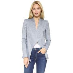 alice + olivia Allison Blazer ($240) ❤ liked on Polyvore featuring outerwear, jackets, blazers, denim blue, drapey jacket, drapey blazer, blue blazer, draped blazer and blue blazer jacket