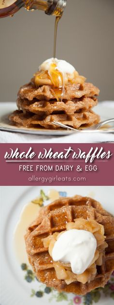 Vegan Whole Wheat Waffles are easy to make and only 3 ingredients! These whole wheat waffles use coconut oil and applesauce making them dairy free, egg free, soy free, and nut free!