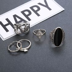 New 6Pcs/Set Bohemian Sliver Plated Knuckle Ring Gemstone Midi Ring Jewelry -- BuyinCoins.com
