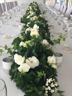 Greenery garland | green and white | Noosa Boathouse wedding | Ginger Lily Rose | Table centrepiece runner
