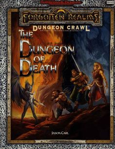The Dungeon of Death (2e) - Forgotten Realms | Book cover and interior art for Advanced Dungeons and Dragons 2.0 - Advanced Dungeons & Dragons, D&D, DND, AD&D, ADND, 2nd Edition, 2nd Ed., 2.0, 2E, OSRIC, OSR, d20, fantasy, Roleplaying Game, Role Playing Game, RPG, Wizards of the Coast, WotC, TSR Inc. | Create your own roleplaying game books w/ RPG Bard: www.rpgbard.com | Not Trusty Sword art: click artwork for source