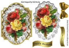 Pretty vintage yellow red roses on lace on lattice frame on Craftsuprint - Add To Basket!