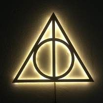 Luminária De Led Harry Potter Relíquias Da Morte Em Mdf 35cm