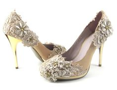Cream Lace Wedding heels, luxury art-deco styled shoes #daisybuchanan #gatsby