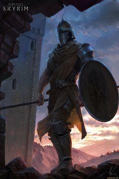 Skyrim,The Elder Scrolls,games,art,beautiful pictures,guard,Michal Kus