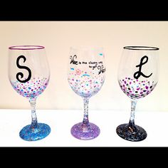 DIY girls night in wine glasses!   My friends and I bought plain wine glasses from the dollar store, painted them with acrylic paints and glitter, let then dry, covered in Mod Podge and baked in the oven at 250 for 45 mins. It was super cheap and they turned out so cute!