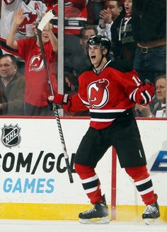 Adam Henrique after scoring against the New York Rangers at the Prudential Center on February 5,  2013.
