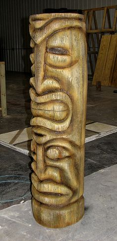 This Tiki Statue is an EPS foam sculpture coated with a layer of textured concrete and stained to look like an old wooden carving. Tiki Hawaii, Hawaiian Tiki, Totems, Tiki Man, Tiki Tiki, Tiki Statues, Tiki Bar Decor, Tiki Totem, Concrete Sculpture