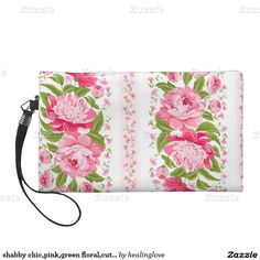 shabby chic,pink,green floral,cute girly,trendy,vi wristlet purses