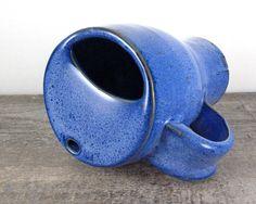 Handmade Pottery Travel Mug - Coffee Cup - Eco-Friendly - Cobalt Blue - Large Big Pint - Mustache Cup