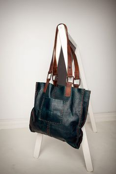Cibado leather bags - hand sewn teal leather tote with vintage horse tack handles and hardware.