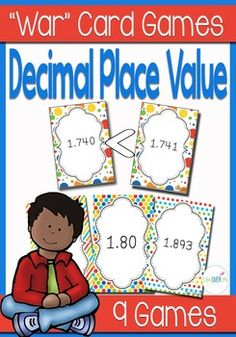 An engaging partner game for building fluency with decimal place value. Students will compare between numbers with decimals and decide which has the greater value.9 Unique sets of decimal place value cards with varying skill levels:9 Unique sets of cards with varying skill levels:Decimal Place value to the tenths placeDecimal Place value to the hundredths placeDecimal Place value to the thousandths placePrint 2-4 copies of each set to make a deck.