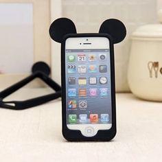 Силиконовый бампер Ушки Микки Черный для IPhone 6