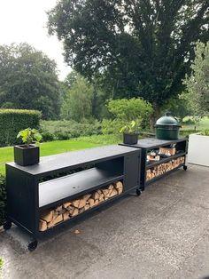 Outdoor Bbq Kitchen, Backyard Kitchen, Outdoor Kitchen Design, Outdoor Cooking, Outdoor Pergola, Outdoor Fire, Outdoor Rooms, Outdoor Living, Kamado Bbq