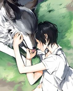 Anime boy with wolf Art Manga, Manga Boy, Manga Anime, Anime Wolf, Cute Anime Boy, I Love Anime, Anime Style, Anime Angel, Lobo Anime