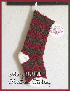 Merry Bavarian Christmas Stocking and Stocking Cap - My favorite Christmas decoration in our home is our crocheted stockings.  It just isn't Christmas until the stockings are hung.  Pattern written for three stocking sizes and includes a bonus stocking cap pattern.  Includes photos of stitch placements.