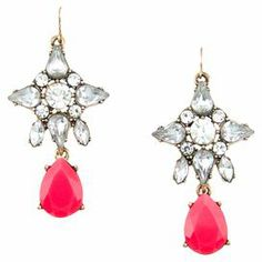 """Add a pop of style to evening ensembles and work outfits alike with these stunning gold-plated earrings, showcasing a pink teardrop accent and rhinestone details.  Product: Pair of earrings Construction Material: Zinc alloy, resin and rhinestonesColor: Pink and goldFeatures:  Hand-set stonesTeardrop accent  Dimensions: 2.4"""" Drop x 1.2"""" WCleaning and Care: Avoid all oils and chemicals (such as lotions, hairspray, makeup and perfumes). Put jewelry on last when getting ready. To clean, wipe ..."""