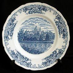 Royal Swan Ironstone Blue Transfer Historical Castle Dinner Plate England | eBay