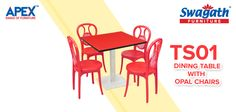 Steel base TS01 dining #table with the Opal #chairs is the most durable and ideal combination from Swagath's new range of #furniture. Get more details on the attractive colours at www.swagath.co !!