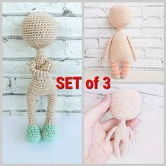 PDF doll pattern, knitted doll body, doll crochet pattern, PDF the body of the doll, amigurumi doll pattern, education knitting dolls Knitted Doll Patterns, Crochet Doll Pattern, Knitted Dolls, Knitting Patterns, Crochet Patterns, Crochet Brooch, Hand Crochet, Crochet Hats, Amigurumi Doll