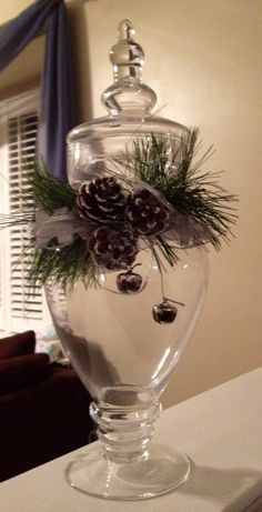 Beautiful way to decorate apothecary jar for winter. Beautiful way to decorate apothecary jar for wi Winter Christmas, All Things Christmas, Christmas Holidays, Merry Christmas, Christmas Ornaments, Christmas Candy, Christmas Christmas, Christmas Ideas, Christmas Centerpieces