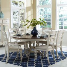 Hillsdale Pine Island 7 Piece Round Dining Set with Ladder Back Chairs - 5265DTBCL7