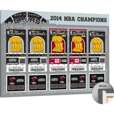 That's My Ticket San Antonio Spurs 2014 NBA Finals Tickets Canvas Print, Team