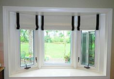 window treatments for casement windows banded roman shade shades treatment solutions french Home, Living Room Remodel, Casement Windows, New Homes, Small Basement Remodel, Living Room Windows, Window Treatments Living Room, Kitchen Bay Window, Window Treatments