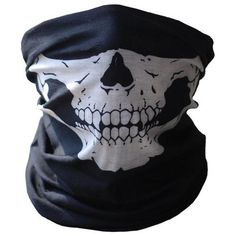 Bicycle Ski Skull Half Face Mask Ghost Scarf Multi Use Neck Warmer - Active Everyday Carry