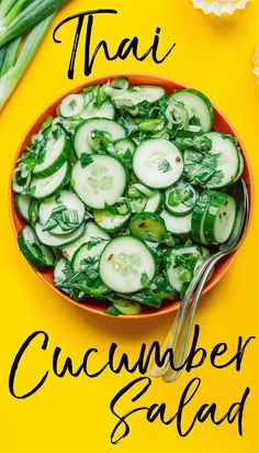 Get refreshed and fill your belly with savory veggie power with this Thai Cucumber Salad. Made with a blend of cucumbers, green onions, and cilantro, then topped off with a savory and slightly hot vinegar and sesame oil dressing. #thaifood #asianfood #vegan #vegetarian #salad #cucumbers #glutenfree Vegetarian Salad Recipes, Vegetarian Lunch, Vegetarian Dinners, Lunch Recipes, Healthy Recipes, Healthy Food, Slow Cooker Recipes, Beef Recipes, Thai Cucumber Salad