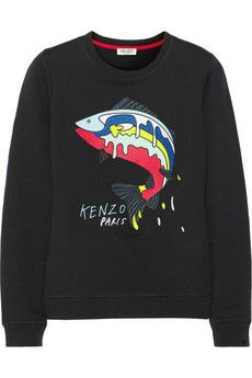 KENZO Embroidered cotton-terry sweatshirt | NET-A-PORTER